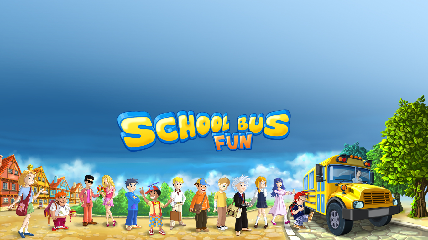 School Bus Fun Desktop Wallpaper 1366x768