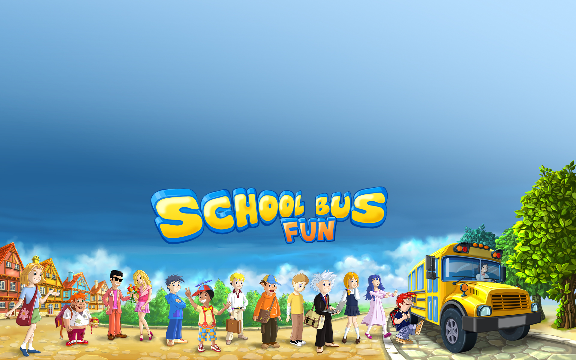 School Bus Fun Desktop Wallpaper 1920x1200